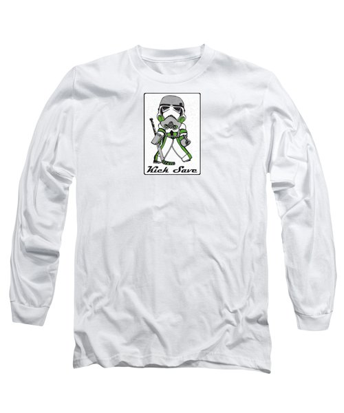 a9e134a26 Long Sleeve T-Shirt featuring the drawing Goalie Green by Hockey Goalie
