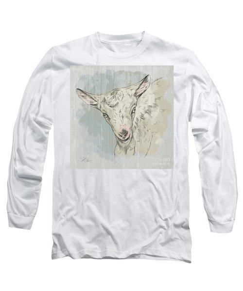 Goat Portrait-farm Animals Long Sleeve T-Shirt