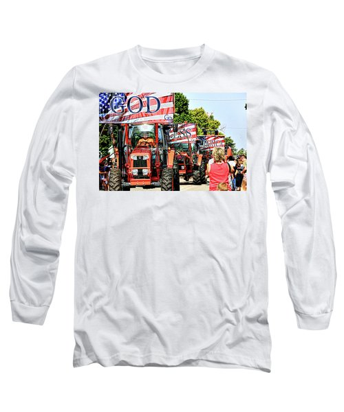 Long Sleeve T-Shirt featuring the photograph God Bless America And Farmers by Toni Hopper