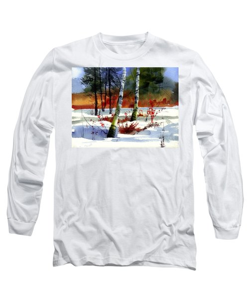 Gold Bushes Watercolor Long Sleeve T-Shirt