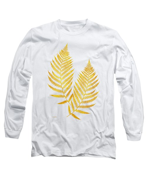 Long Sleeve T-Shirt featuring the mixed media Gold Fern Leaf Art by Christina Rollo