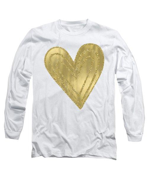 Gold Glam Heart Long Sleeve T-Shirt