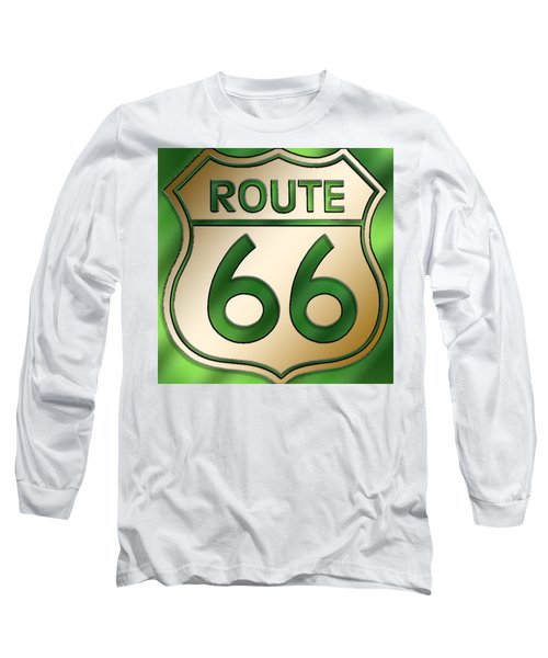 Gold Route 66 Sign Long Sleeve T-Shirt