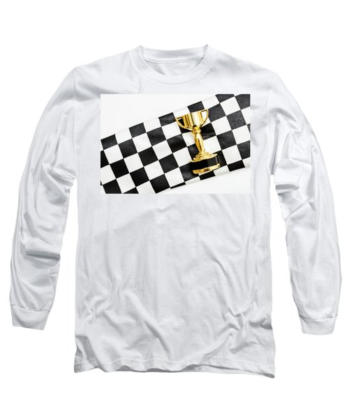 Gold Trophy On A Checked Sport Flag Long Sleeve T-Shirt