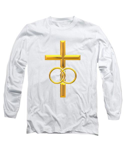 Golden 3d Look Cross With Wedding Rings Long Sleeve T-Shirt