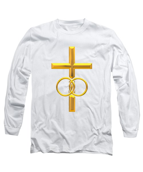 Golden 3d Look Cross With Wedding Rings Long Sleeve T-Shirt