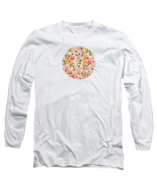 Golden Flitch Digital Vintage Retro  Glitched Pastel Flowers  Floral Design Pattern Long Sleeve T-Shirt
