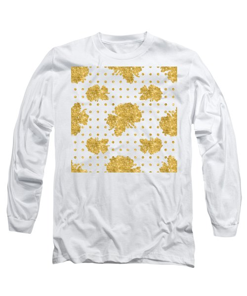 Long Sleeve T-Shirt featuring the painting Golden Gold Blush Pink Floral Rose Cluster W Dot Bedding Home Decor by Audrey Jeanne Roberts