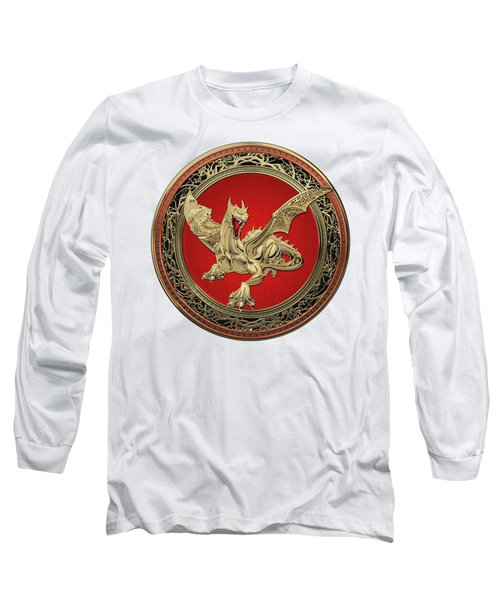 Golden Guardian Dragon Over White Leather Long Sleeve T-Shirt by Serge Averbukh