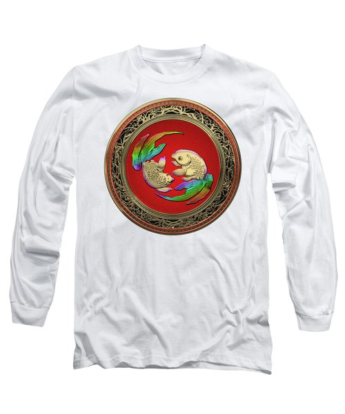 Golden Japanese Koi Goldfish Over White Leather Long Sleeve T-Shirt