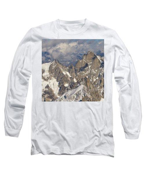 Golden Light At Aiguille Du Midi Long Sleeve T-Shirt