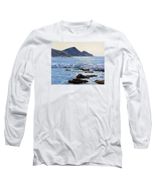 Long Sleeve T-Shirt featuring the painting Golden Light At Crackington Haven by Lawrence Dyer