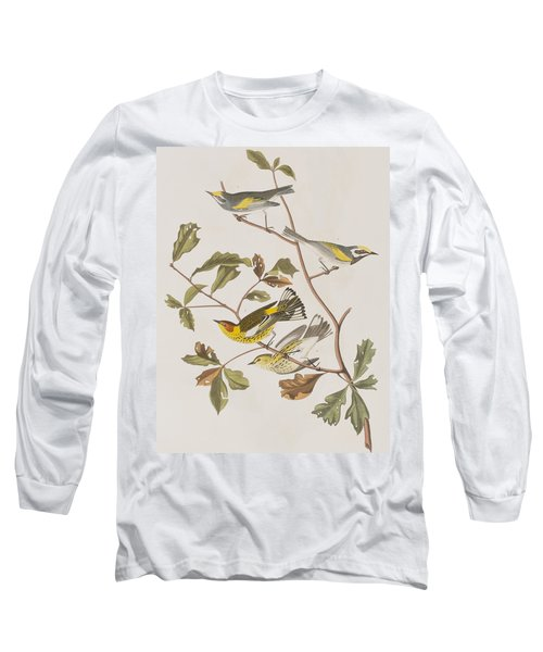 Golden Winged Warbler Or Cape May Warbler Long Sleeve T-Shirt by John James Audubon