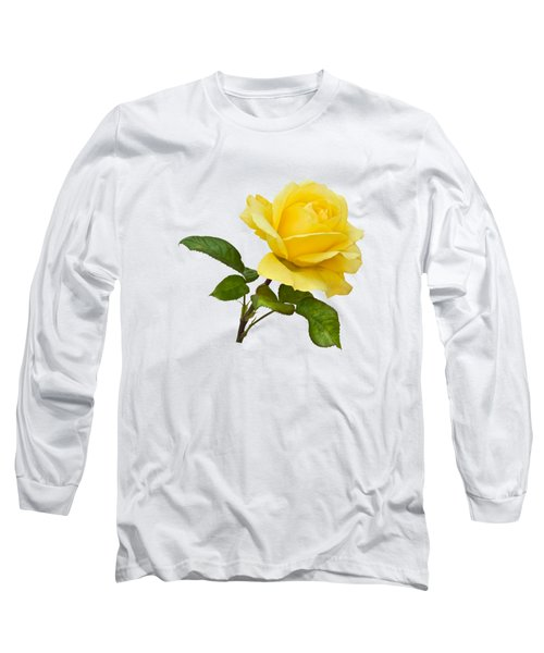 Golden Yellow Rose Long Sleeve T-Shirt by Jane McIlroy