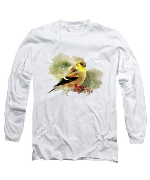 Goldfinch Watercolor Art Long Sleeve T-Shirt by Christina Rollo