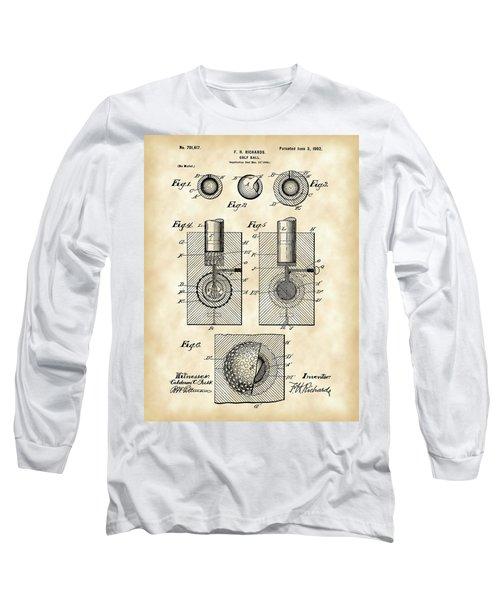 Golf Ball Patent 1902 - Vintage Long Sleeve T-Shirt by Stephen Younts
