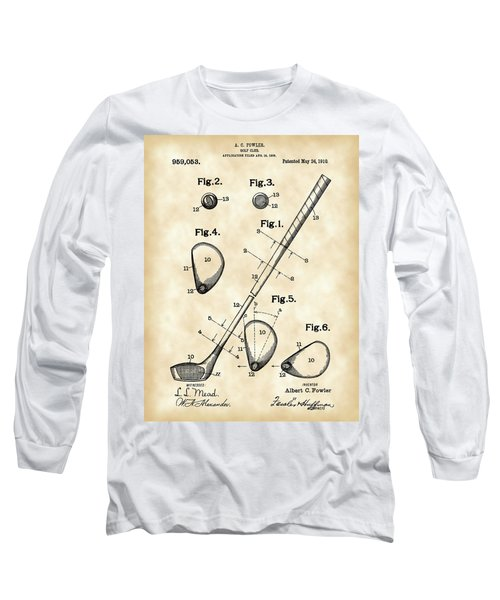 Golf Club Patent 1909 - Vintage Long Sleeve T-Shirt by Stephen Younts
