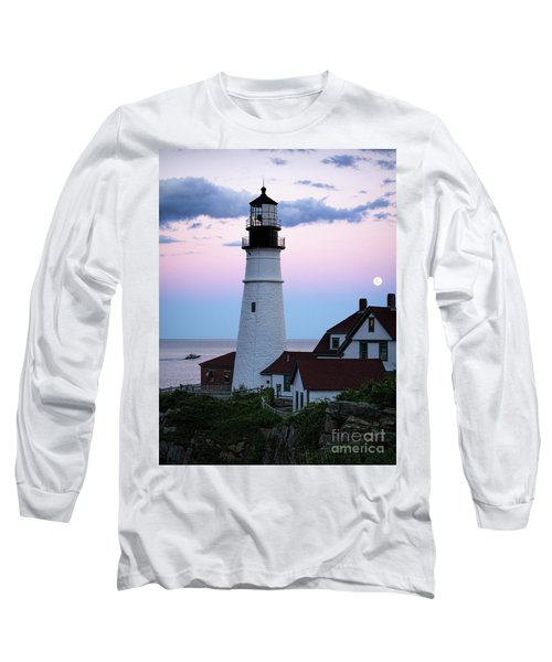 Long Sleeve T-Shirt featuring the photograph Goodnight Moon, Goodnight Lighthouse  -98588 by John Bald