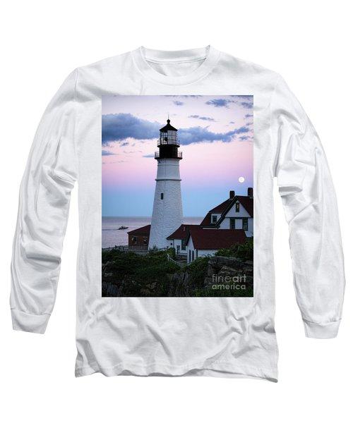Goodnight Moon, Goodnight Lighthouse  -98588 Long Sleeve T-Shirt by John Bald