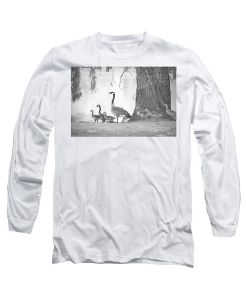 Long Sleeve T-Shirt featuring the photograph Goose Family  by Clarice Lakota