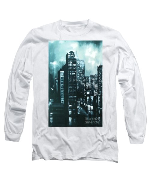 Long Sleeve T-Shirt featuring the painting Gotham Painting by Maja Sokolowska
