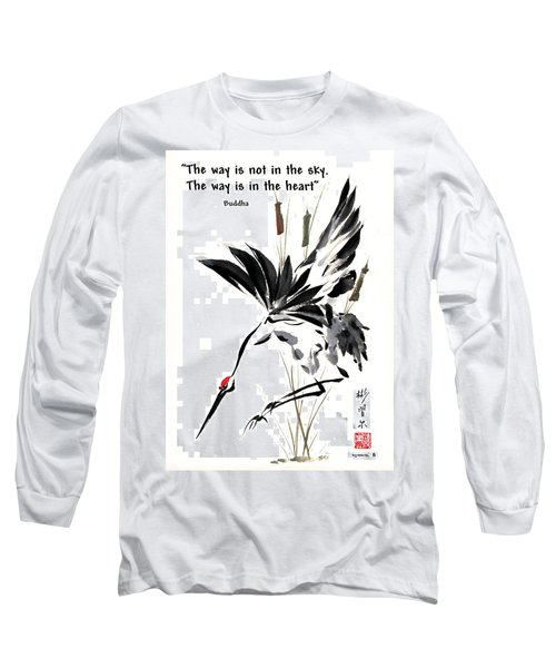 Long Sleeve T-Shirt featuring the painting Grace Of Descent With Buddha Quote I by Bill Searle