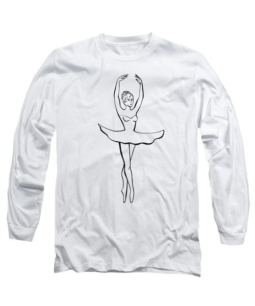 Graceful Ballerina Silhouette Long Sleeve T-Shirt