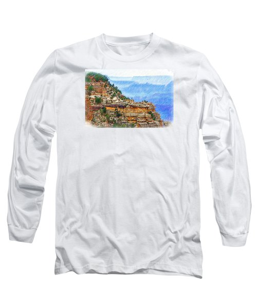 Grand Canyon Overlook Sketched Long Sleeve T-Shirt by Kirt Tisdale