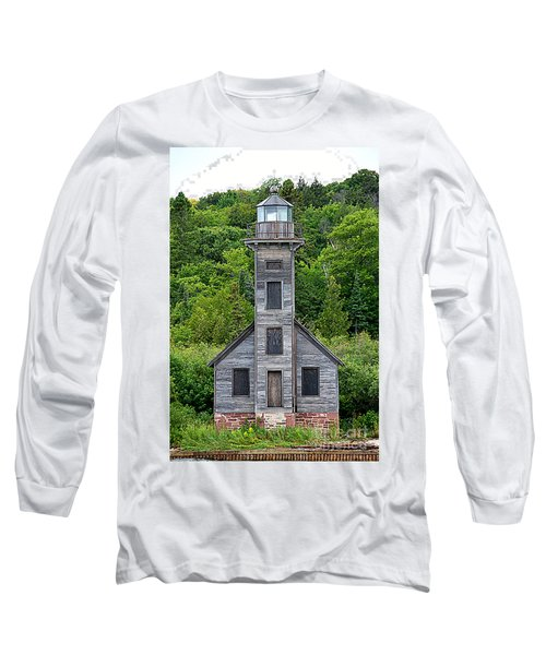 Long Sleeve T-Shirt featuring the photograph Grand Island East Channel Lighthouse #6672 by Mark J Seefeldt