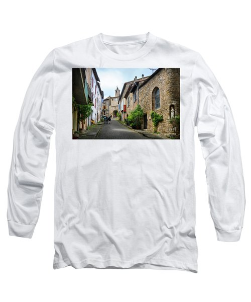 Grand Rue De L'horlogue In Cordes Sur Ciel Long Sleeve T-Shirt by RicardMN Photography
