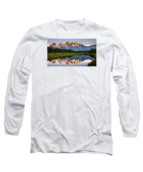 Long Sleeve T-Shirt featuring the photograph Grand Teton Awakening by Dan Mihai