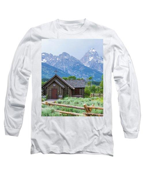 Long Sleeve T-Shirt featuring the photograph Grand Teton Church by Dawn Romine