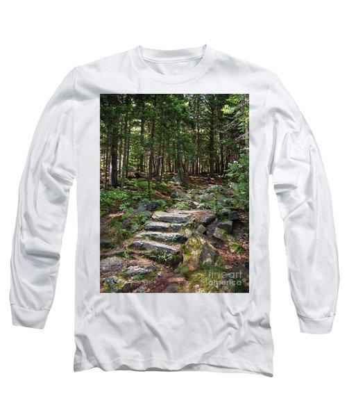 Granite Steps, Camden Hills State Park, Camden, Maine -43933 Long Sleeve T-Shirt by John Bald