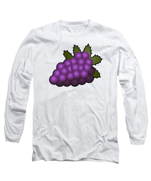 Grapes Fruit Outlined Long Sleeve T-Shirt by Miroslav Nemecek