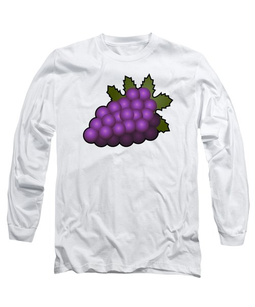 Grapes Fruit Outlined Long Sleeve T-Shirt