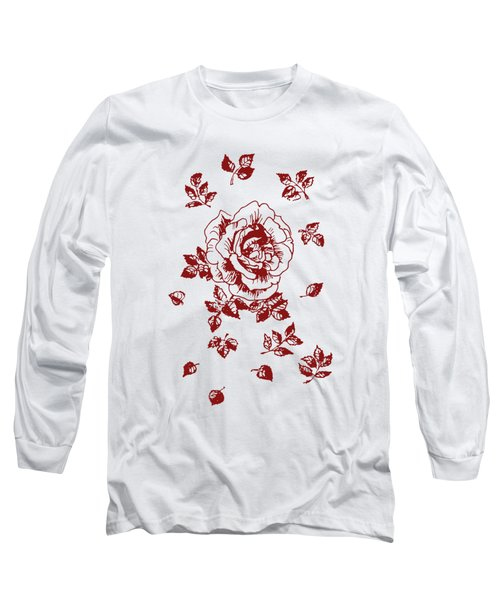 Graphic Red Rose With Leaves Long Sleeve T-Shirt