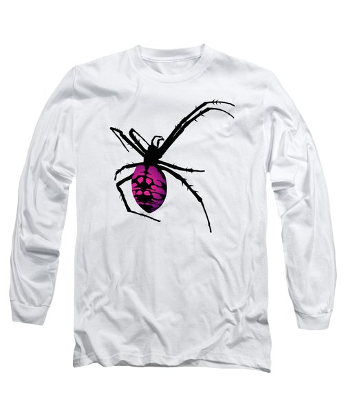 Graphic Spider Black And Purple Long Sleeve T-Shirt by MM Anderson