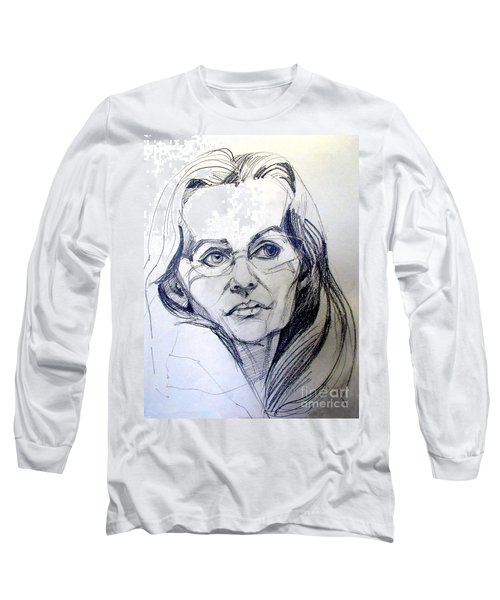 Graphite Portrait Sketch Of A Woman With Glasses Long Sleeve T-Shirt