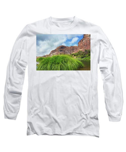 Grass Along John Day River In Central Oregon Long Sleeve T-Shirt