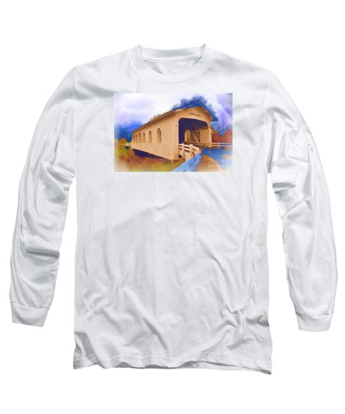 Grave Creek Covered Bridge In Watercolor Long Sleeve T-Shirt by Kirt Tisdale
