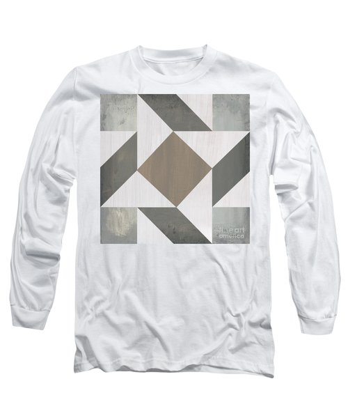 Long Sleeve T-Shirt featuring the painting Gray Quilt by Debbie DeWitt