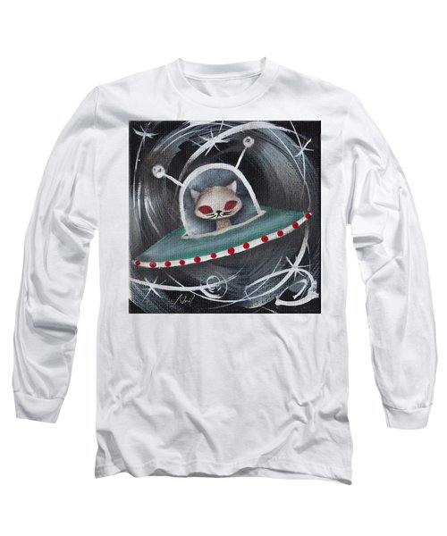 Gray Space Cat Long Sleeve T-Shirt by Abril Andrade Griffith