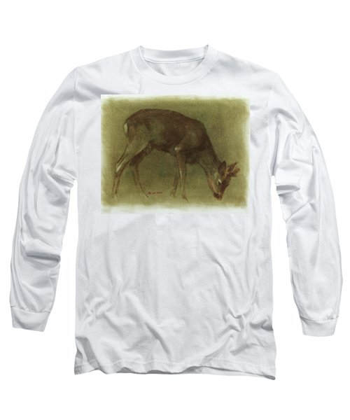 Grazing Roe Deer Oil Painting Long Sleeve T-Shirt
