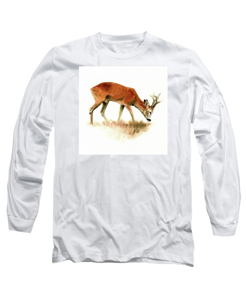 Grazing Roebuck Watercolor Long Sleeve T-Shirt