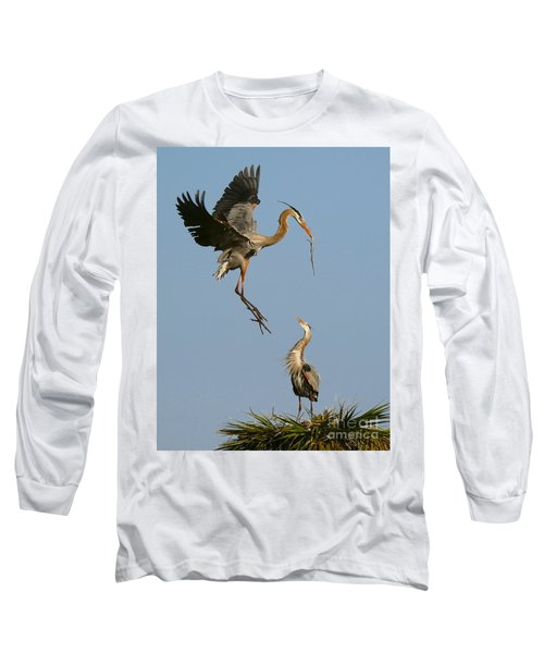 Great Blue Heron Dropping In Long Sleeve T-Shirt by Myrna Bradshaw