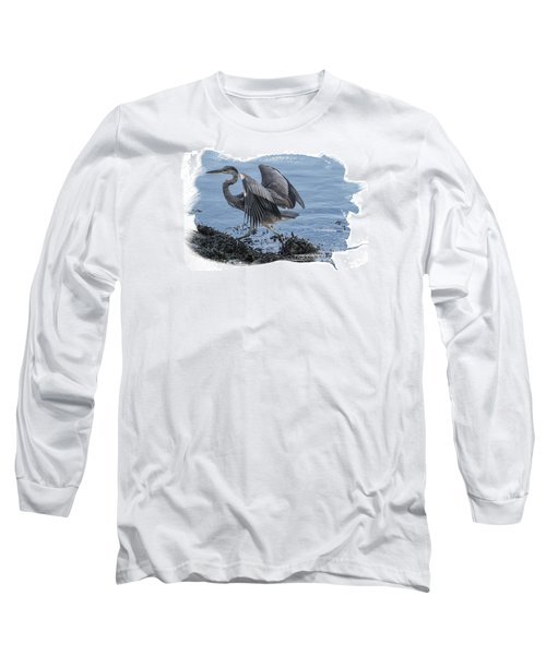 Long Sleeve T-Shirt featuring the photograph Great Blue Heron On Cape Cod Canal 1 by Constantine Gregory