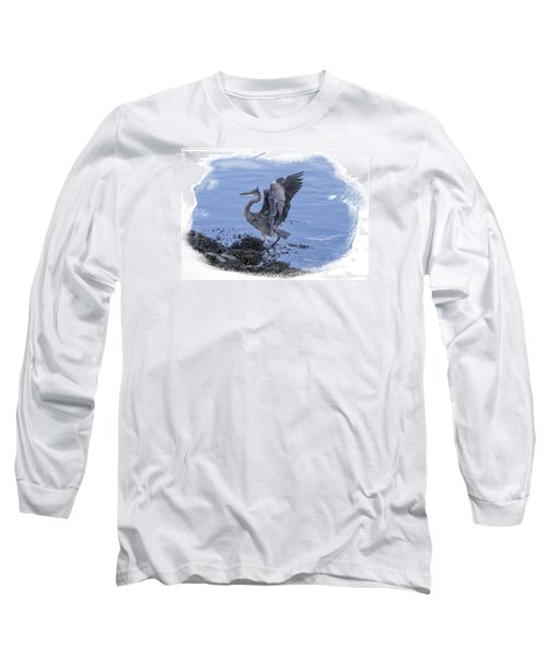 Long Sleeve T-Shirt featuring the photograph Great Blue Heron On Cape Cod Canal 3 by Constantine Gregory