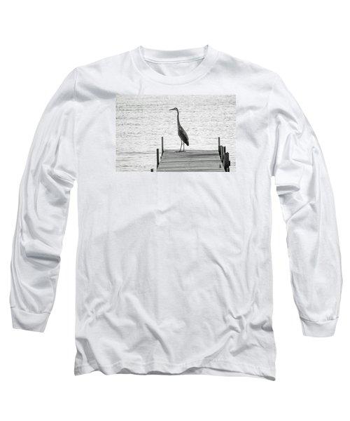 Great Blue Heron On Dock - Keuka Lake - Bw Long Sleeve T-Shirt