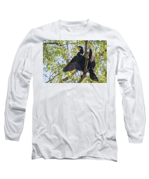 Great Cormorant - High In The Tree Long Sleeve T-Shirt by Jivko Nakev