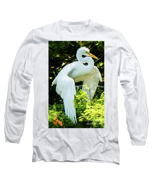 Great Egret Stretching Long Sleeve T-Shirt